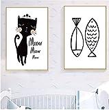 Refosian gato pez lienzo pintura pared arte carteles e impresiones cartel blanco negro animales imágenes decoración de habitación de bebé - 50x70cm /19.6x27.5 in/Sin marco