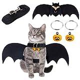 MELLIEX Disfraces para Gatos Halloween Ropa Alas de Murciélago para Gatos con Campana de Calabaza y Correa para Mascotas para Perros Pequeños, Gatos
