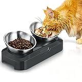 PewinGo Comedero para Perros Gato Mascotas de Acero Inoxidable 800ml con 0°y 15°Ángulo Ajustable, Base de Silicona Antideslizante Comederos para Gatos