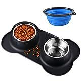 Bonve Pet 2x400ML Comedero para Perro Gato y Mascotas de Acero Inoxidable con Base de Silicona Antideslizante, 2 Cuencos Comedero para Comida y Agua