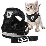 Toulifly Arnés Gato,Arnés para Gatos,Arnés y Correa para Gato,Cat Harness,Cat Vest Harness, Ajustable Respirante Pequeña Chaleco para Cachorros, Perros Pequeños y Gatos (M)