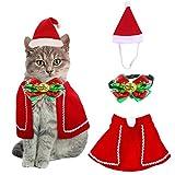 QIMMU Gorra de Papá Noel de Navidad Ajustable de Mascotas, Capa, Collar de Pajarita,Disfraz de Navidad para Cachorro Gatito Gatos Pequeños Perros Mascotas