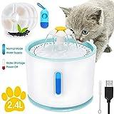 Fuente para gatos ultra silenciosa, 2.4L, dispensador automático de agua para perros con nivel de agua, ventana, luz LED, flores, gatos, 3 filtros y soporte para cepillos de bolsillo y de limpieza