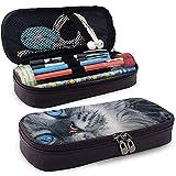 Bolso y estuche de cuero Estuche de lápices de gato persa gris azul con un compartimento principal