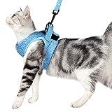 Dotoner Arnes Gato Juego de arnés y Correa para Gato Ultraligero Suave y cómodo Chaqueta para Caminar para Gatos Acolchada a Prueba de Escapes Apto para Cachorros Conejo (S,Azul)