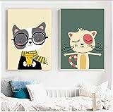Refosian dibujos animados gato flor pared arte lienzo pintura carteles nórdicos e impresiones cuadros de pared decoración de habitación de niña bebé-60x80 cm / 23,6x31,4 pulgadas/sin marco
