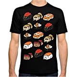 ZSHOOCL Hombre Sushi Persian Cat interessante Camiseta XL Black