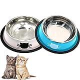 DMSL Cuenco para Gato Antideslizante 2 Piezas, Comederos de Acero Inoxidable Tazón de Gatos para Agua Comida, Comederos y Bebederos para Gatitos Cachorros Conejos Mascotas Animales Pequeños