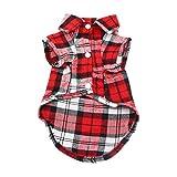 YAODHAOD Camisa Cuadros para Perros, Camisa A Cuadros de Moda para Mascotas Ropa para Perros, Camisa A Cuadros para Gatos Suave y Cómoda (XS, Rojo)