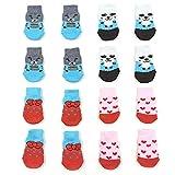 NA/ 4 pares de calcetines antideslizantes para perros y gatos con refuerzo de goma, protector de pata de mascota para suelos de madera dura, uso interior (S)