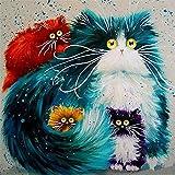 Fuumuui Pintar por Numeros para Adultos Niños,DIY Pintura por números de Kits Sin Marco--Cats 40cm * 50cm