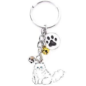 Scrox 1x Llavero Moda Forma Creativa del Linda Gato Mascota Campana Cadena de Clave Bolsos Key Holder Mujer Regalo para Decoración (Gato Persa)